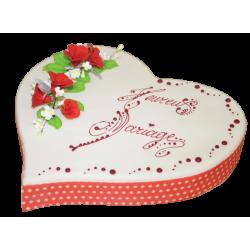 Gâteau Cœur blanc et rouge  personnalisable  pour mariage - Pâtisserie La Romainville