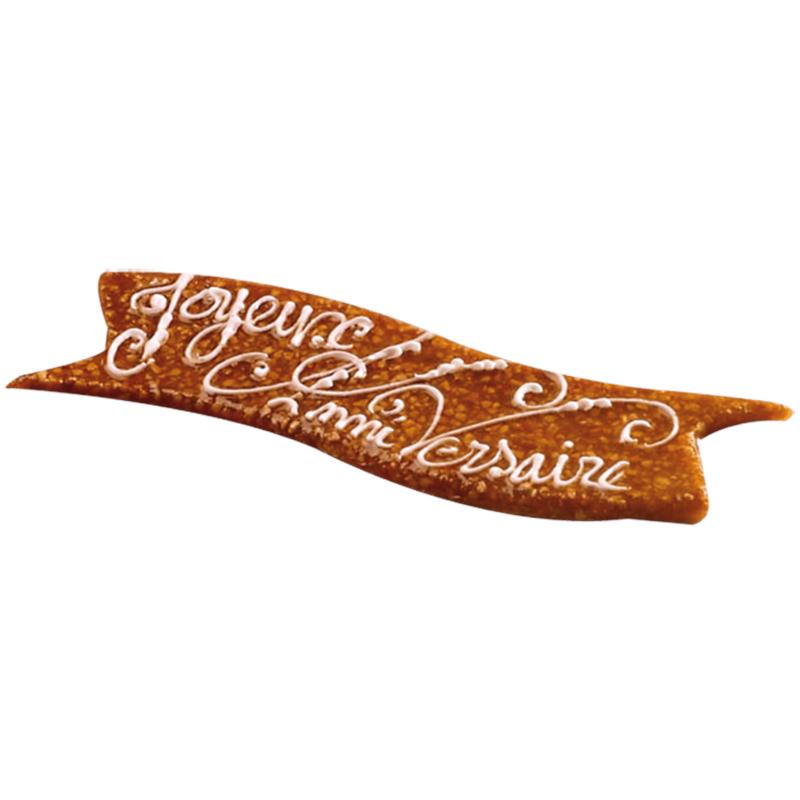 Plaque en nougatine- inscription personnalisée - Pâtisserie La Romainville