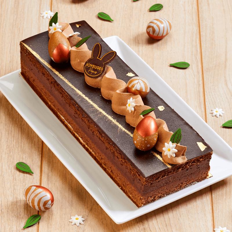 Sensation Chocolat - entremets chocolat et craquant noisette - Collection de Pâques - Pâtisserie La Romainville
