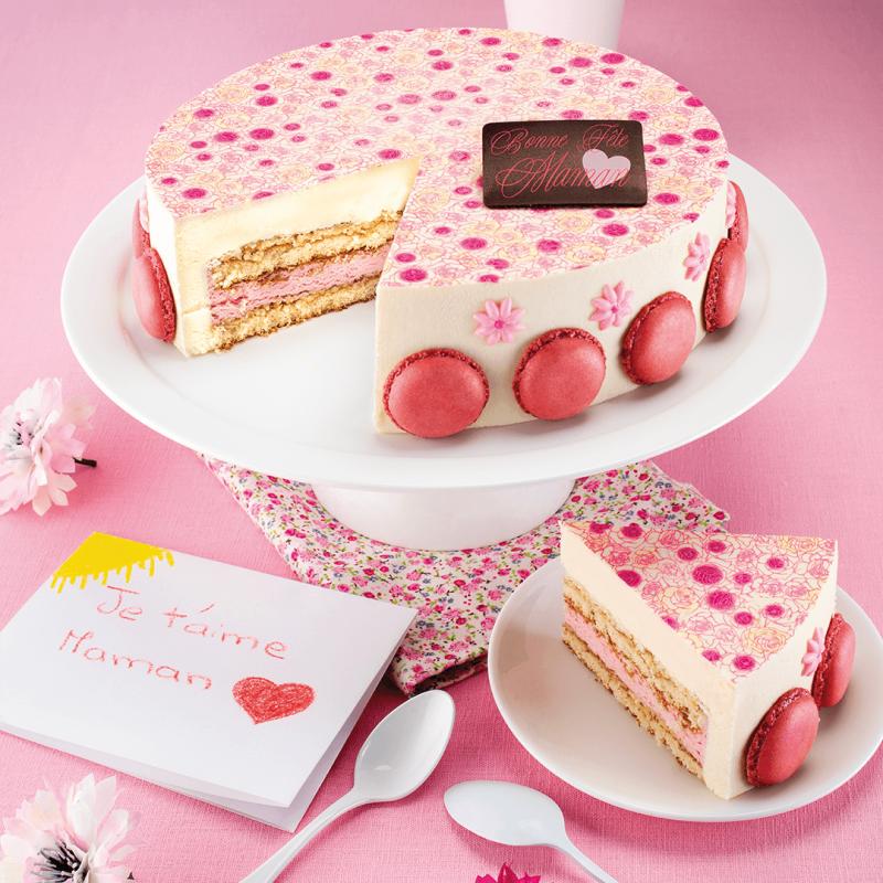 new Gâteau Mamoune , fête des mères , entremets vanille fraise , Pâtisserie  La Romainville