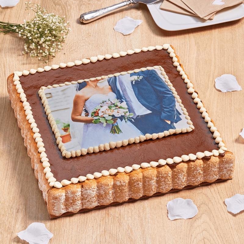 Charlotte aux fraises, poire ou poire/chocolat personnalisée - gâteau photo - Pâtisserie La Romainville