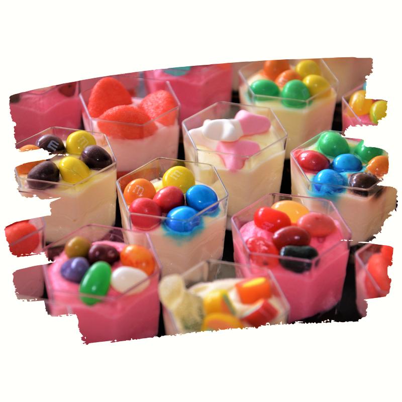 verrines de bonbons pour goûter d'enfants