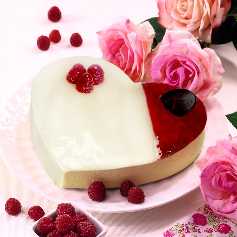 Coeur Harmonie - Dessert Chocolat blanc framboise- Saint-Valentin ou fêtes des mères - Pâtisserie La Romainville