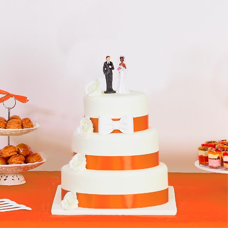 Pièce montée de 3 étages à ruban orange