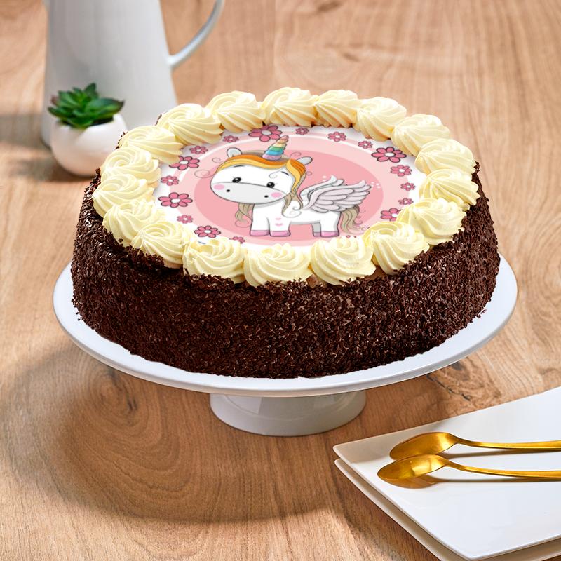 Gâteau au chocolat ou vanille licorne  - Anniversaire enfant  - Pâtisserie La Romainville