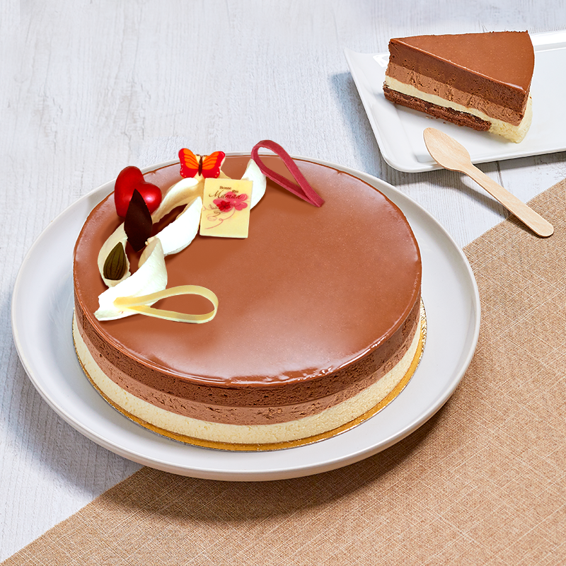 Symphonie 3 chocolats, un entremets aux trois chocolats créé par les pâtissiers de La Romainville