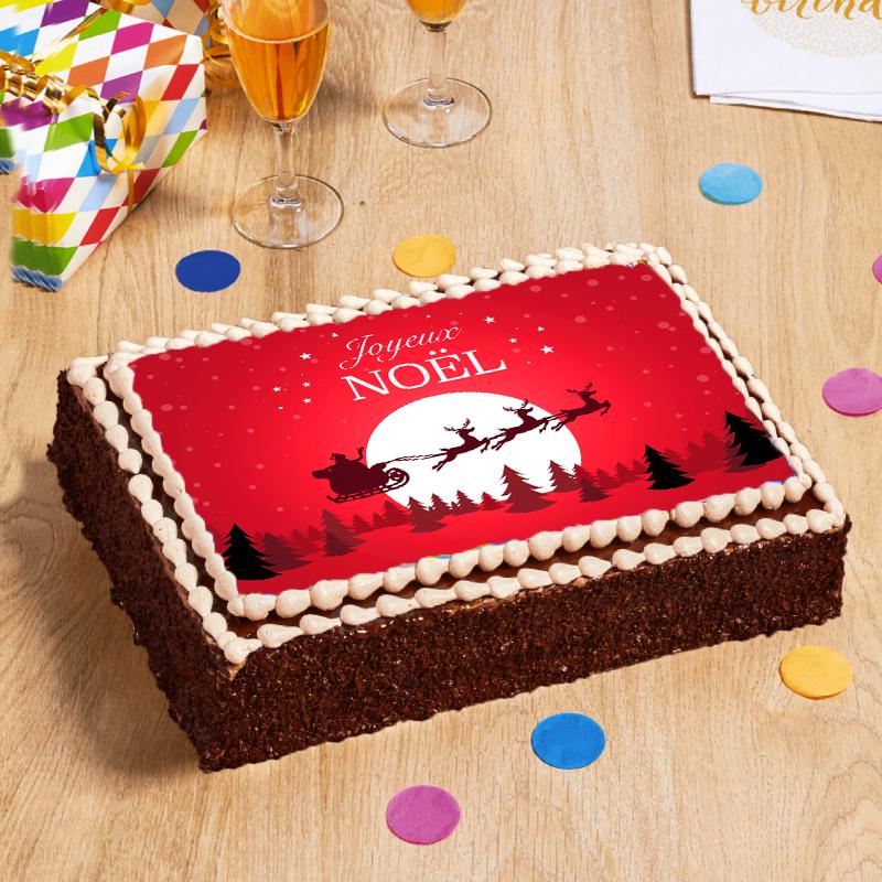 gâteau décoré du traineau du père Noel pour fêter le 25 Décembre