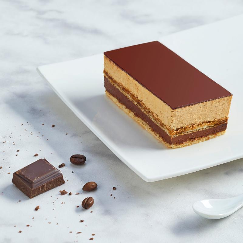Gâteau Opéra - Crème café et ganache chocolat - Pâtisserie La Romainville