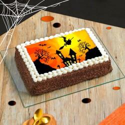 Gâteau Cimetière Halloween - layer cake au chocolat des Pâtisseries La Romainville - disponible en livraison à domicile