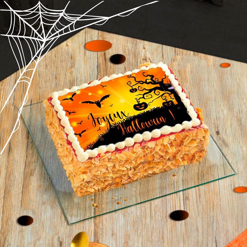Fraisier personnalisé Halloween - gâteau avec photo - Pâtisserie La Romainville