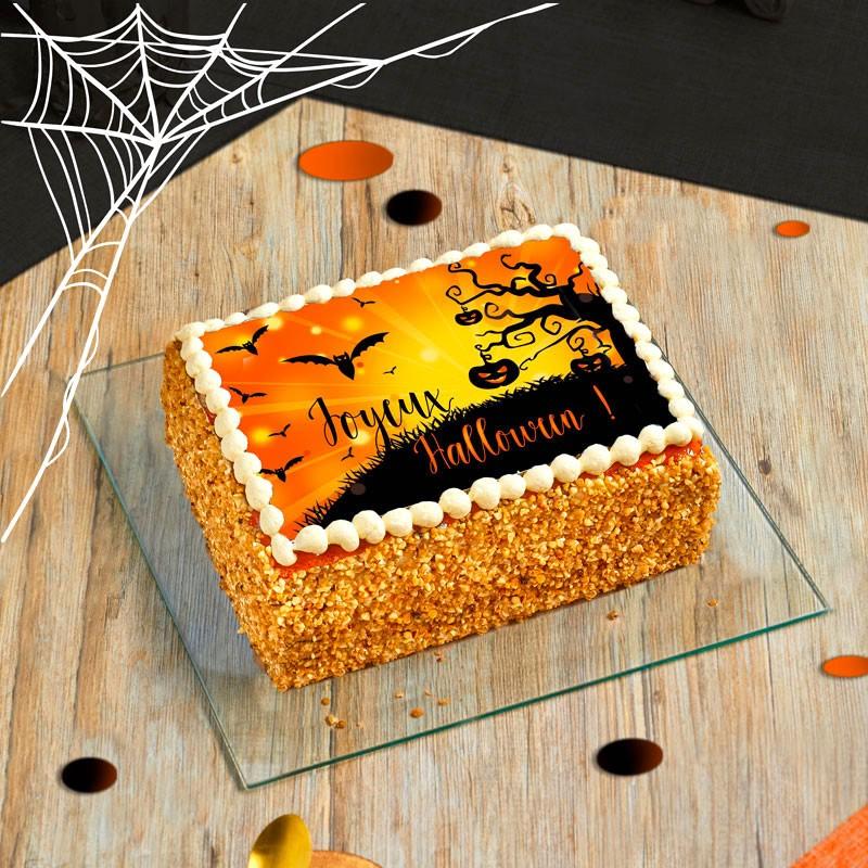 Framboisier personnalisé Halloween - gâteau avec photo - Pâtisserie La Romainville